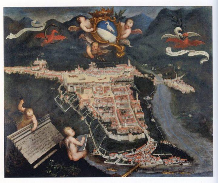 Veduta di Belluno nel 1690 - Domenico Falce